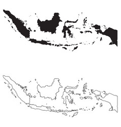 Indonesia country map black silhouette vector