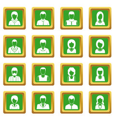 Infographic design parts icons set green vector