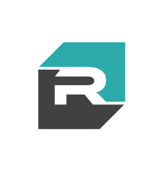 initial r rectangle logo template vector image