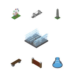 isometric city set of recreation barrier highway vector image