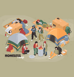 Isometric homeless camp composition vector