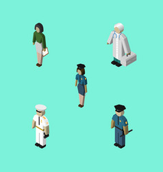 isometric human set of officer seaman medic and vector image