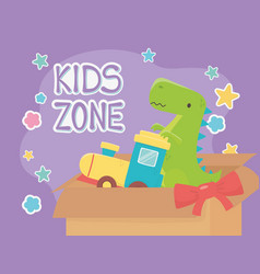 Kids zone filled box train and green dinosaur vector