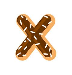 letter x donut font doughnut alphabet sweet vector image