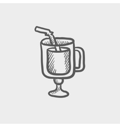 Lime juice sketch icon vector
