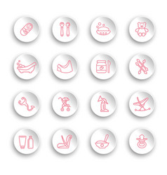 linear bacare icons set on white stickers vector image
