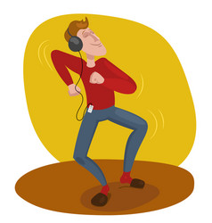 man dancing in headphones vector image
