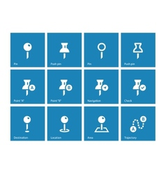 Mapping Pin icons on blue background vector