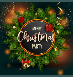 Merry christmas party invitation poster with main vector