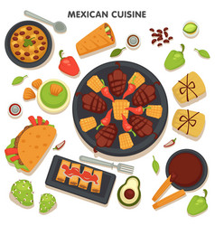 mexican cuisine collection traditional dishes vector image