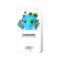 mix race women putting cannabis leaves on world vector image
