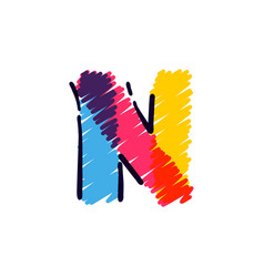 N letter logo hand drawn with a colored pencils vector