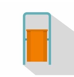 Orange public garbage bin icon flat style vector image