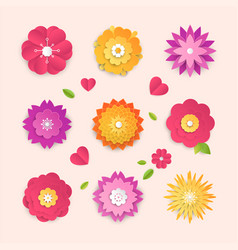 Paper cut flowers - set of modern colorful vector