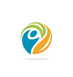 people circle ecology logo vector image