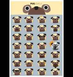 Pug emoji icons vector