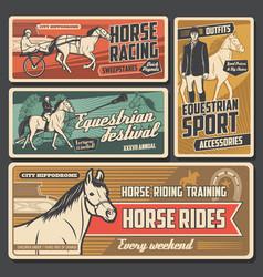 Race horses jockeys hippodrome and trophy vector