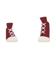 Red old retro womens sneakers fashion sport casual vector image