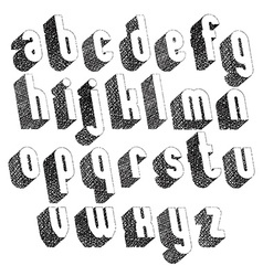 Retro style 3d font with hand drawn lines texture vector