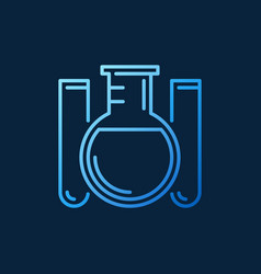 Round-bottom flask and test tubes outline vector