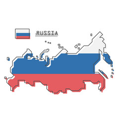russia map and flag modern simple line cartoon vector image