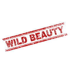 scratched textured wild beauty stamp seal vector image
