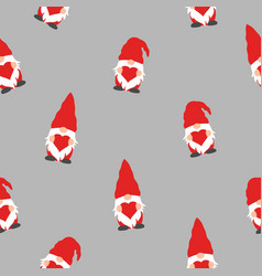 seamless pattern with cute valentine gnome holding vector image