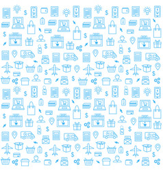 seamless pattern with online shopping icons in vector image