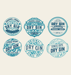 set 6 labels or badges for packing vector image
