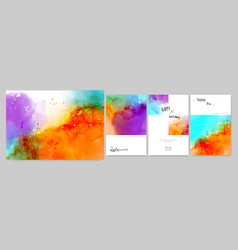 set art watercolor background card and poster vector image