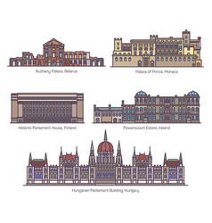 Set european parliament buildings in thin line vector
