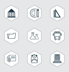 Set of 9 education icons includes education vector