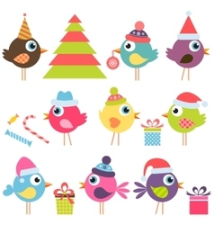 Set of funny birds with santa hats vector
