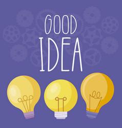 set of light bulbs good idea vector image