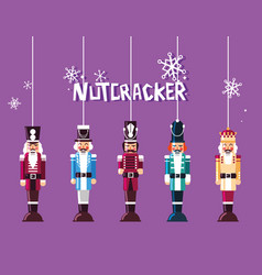 Set of nutcracker toy hanging vector