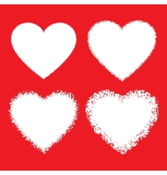 Set of White Hand Drawn Grunge Hearts vector image