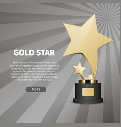 shiny gold star on stand realistic vector image