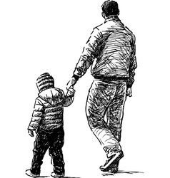 sketch a townsman with his kid going down the vector image
