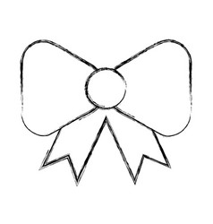 Sketch draw bow cartoon vector