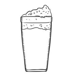 sketch glass beer with foam vector image