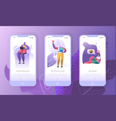 social media onboarding mobile app screens vector image