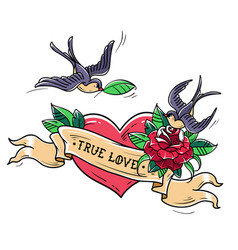 Tattoo swallows fly over heart and rose true love vector