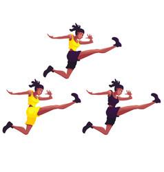 Three black girls doing sports jump on white vector