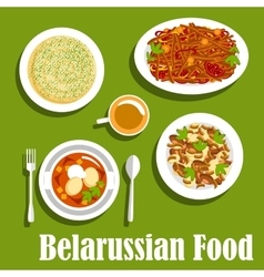Traditional potato dishes of belarusian cuisine vector