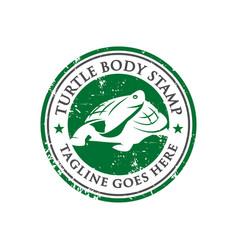 turtle stamp logo design template vector image
