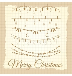 vintage christmas garland set vector image