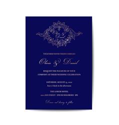 Wedding monogram vintage invitation card vector