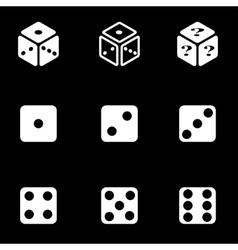 white dice icon set vector image