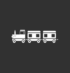 White icon on black background babies train vector