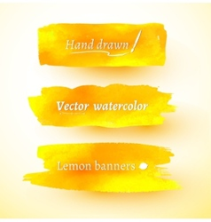 Yellow watercolor banners vector